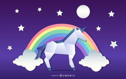Diseño de ilustración de unicornio de origami