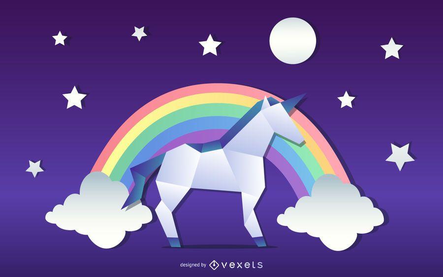Origami Unicorn Illustration Design