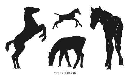 Pacote de silhueta de bezerro de cavalo