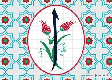 Diseño de letra árabe floral Alif