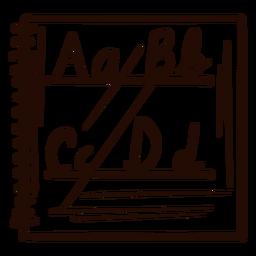 Mão de caderno alfabeto desenhado