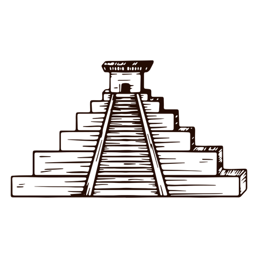 Aztec temple hand drawn