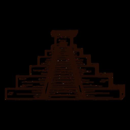 Dibujado a mano templo azteca