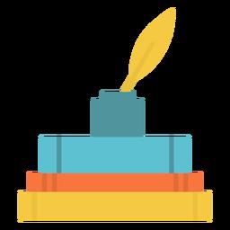 Icono plano de tinta de libros