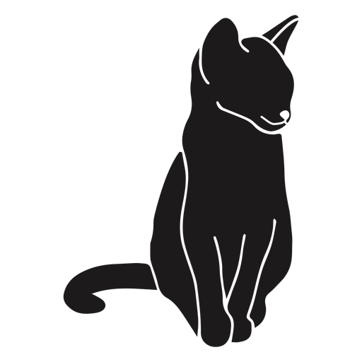 Gato sentado silhueta animal