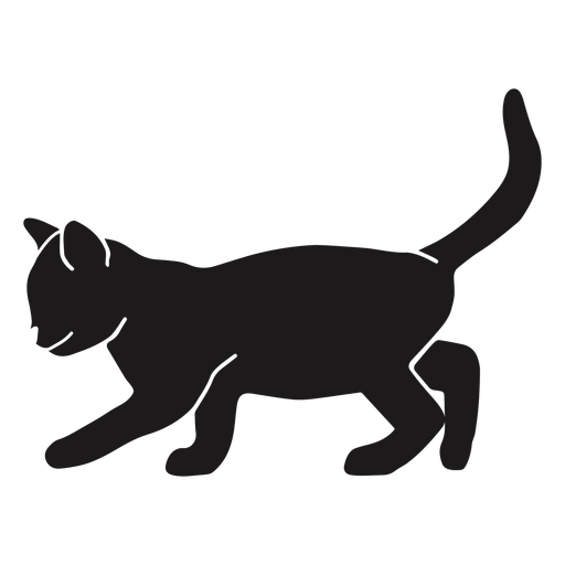 Silueta de acecho de gato Transparent PNG