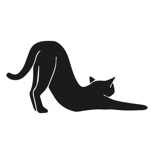 Cat stretching animal silhouette
