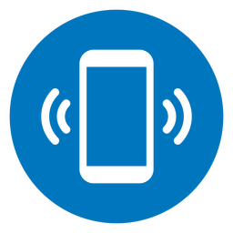 Cellphone ringing blue icon