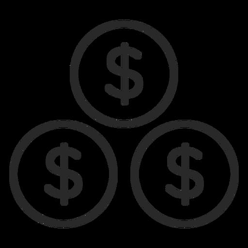 Icono de trazo de monedas