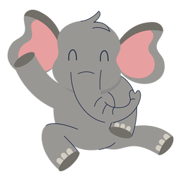 Cute elephant animal flat