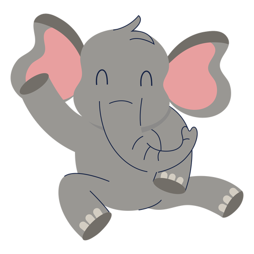 Cute elephant animal flat Transparent PNG