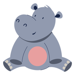 Cute hippopotamus animal flat