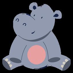Hipopótamo fofo animal plano