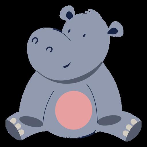 Cute hippopotamus animal flat