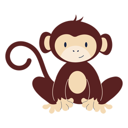 Cute monkey animal flat