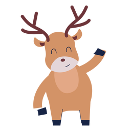 Cute reindeer animal flat