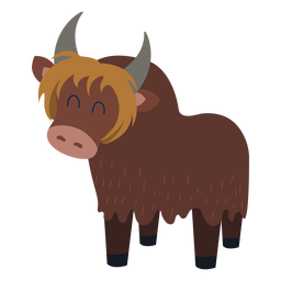 Cute yak animal flat
