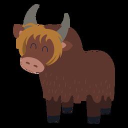 Cute yak animal flat