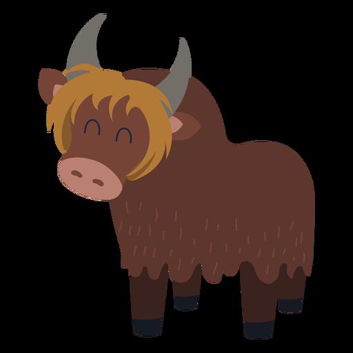 Brown yak. Cartoon character animal yak.