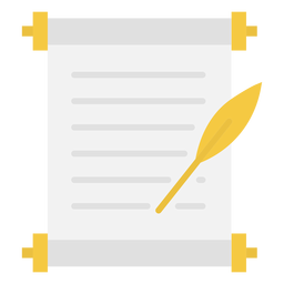 Document quill flat icon