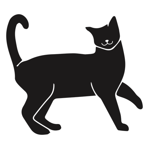 Gato feliz silueta animal Transparent PNG