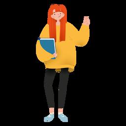 Garota feliz com caráter de livro