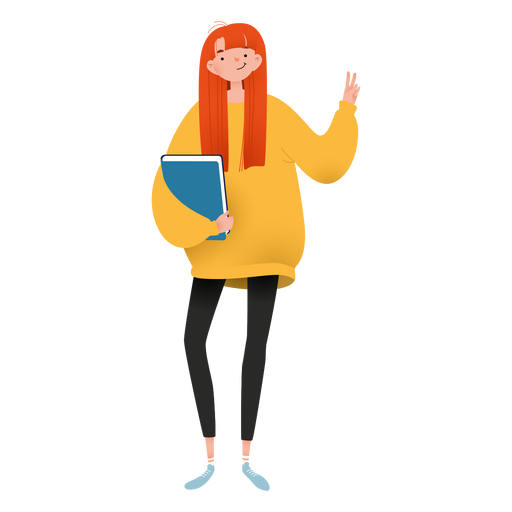 Happy girl with book character