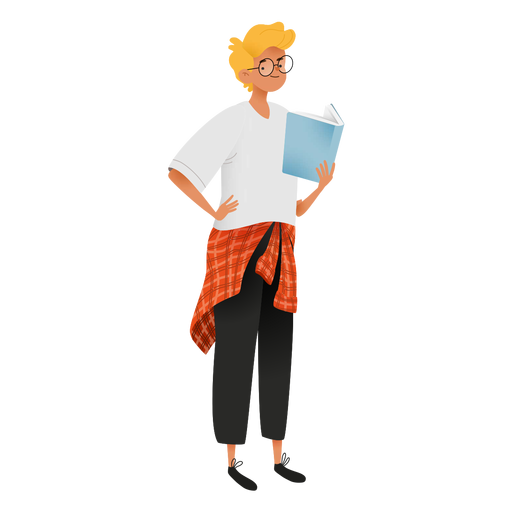Happy guy reading character Transparent PNG