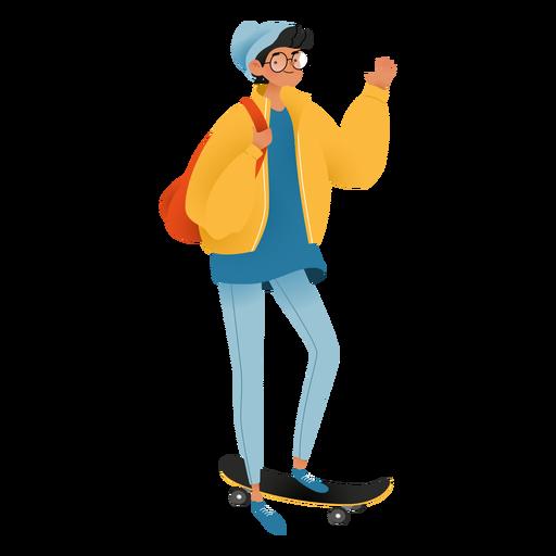 Personaje de skateboard de chico feliz