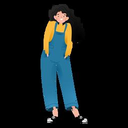 Personagem de menina feliz em pé