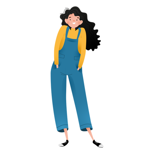 Happy standing girl character