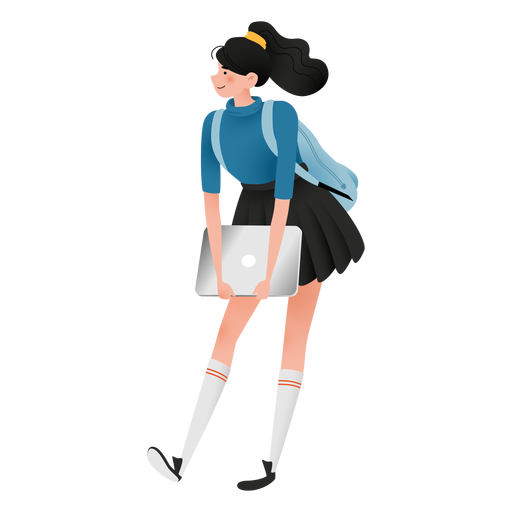 Happy student girl character Transparent PNG