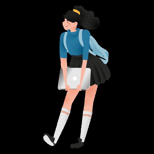 Happy student girl character