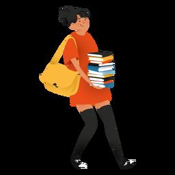 Mulher feliz, carregando o personagem de livros
