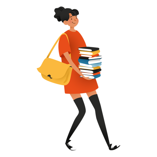 Happy woman carrying books character
