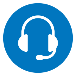 Icono azul de auriculares