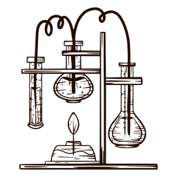 Laboratory equipment hand drawn