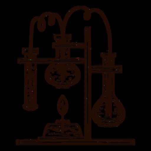 Equipo de laboratorio dibujado a mano