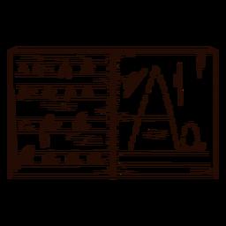 Mão de caderno letras desenhada