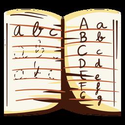 Ilustración del cuaderno de letras