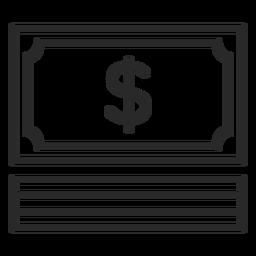 Ícone de traço de conta de dinheiro