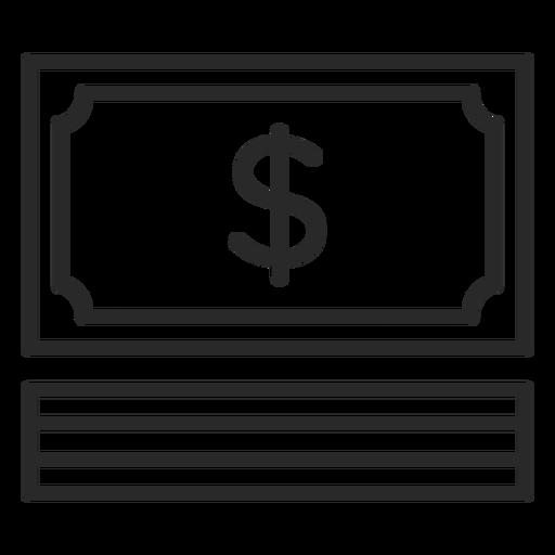 Icono de trazo de factura de dinero