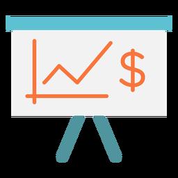 Ícone plano do gráfico de dinheiro
