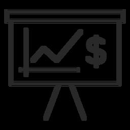 Icono de trazo de gráfico de dinero