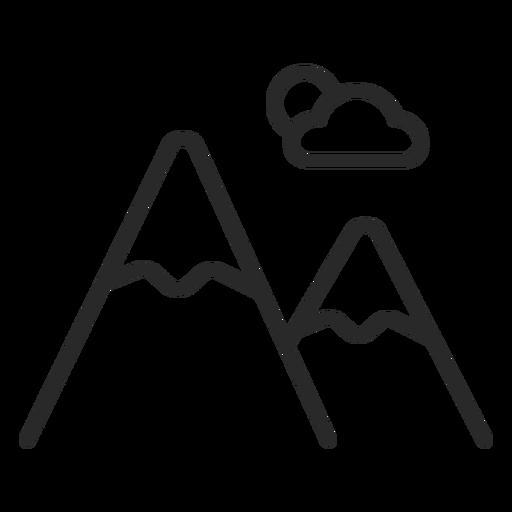 Icono de trazo de montañas