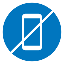 No cellphone blue icon
