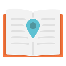 Icono plano de ubicación del cuaderno