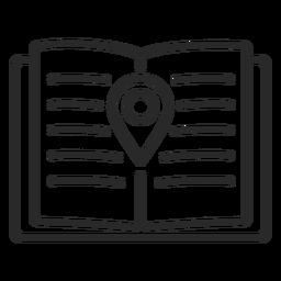 Icono de trazo de ubicación del cuaderno