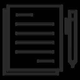 Icono de trazo de pluma de notas