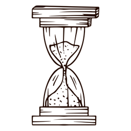 Old hourglass hand drawn